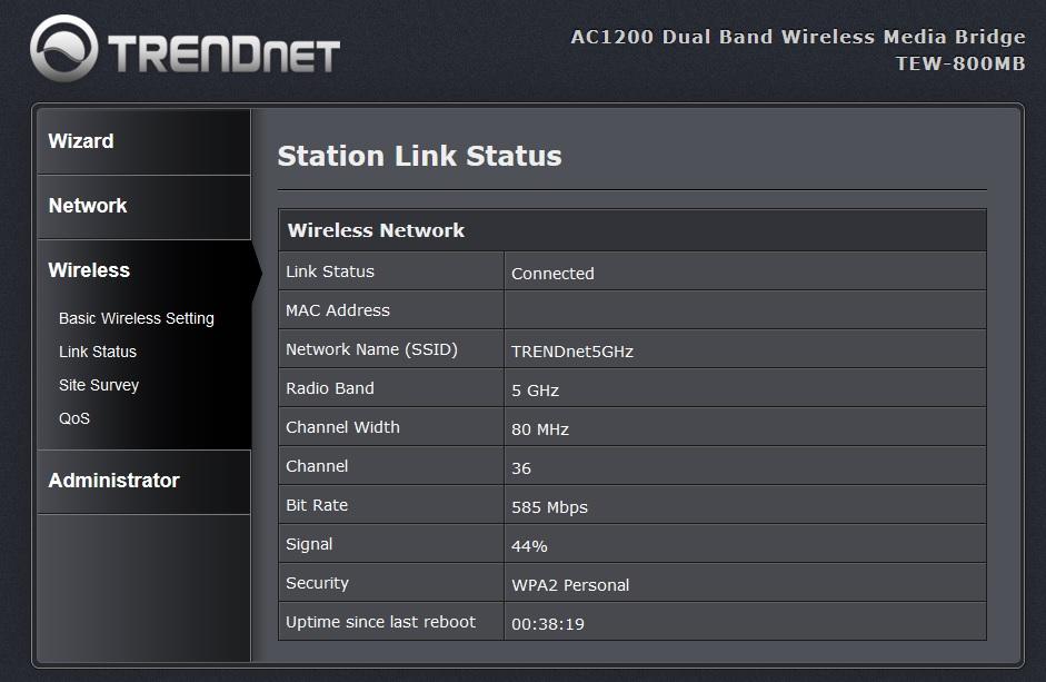Interfata Trendnet TEW-800MB