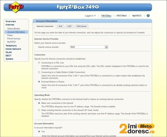 FRITZBox 7490 review configurare pppoe