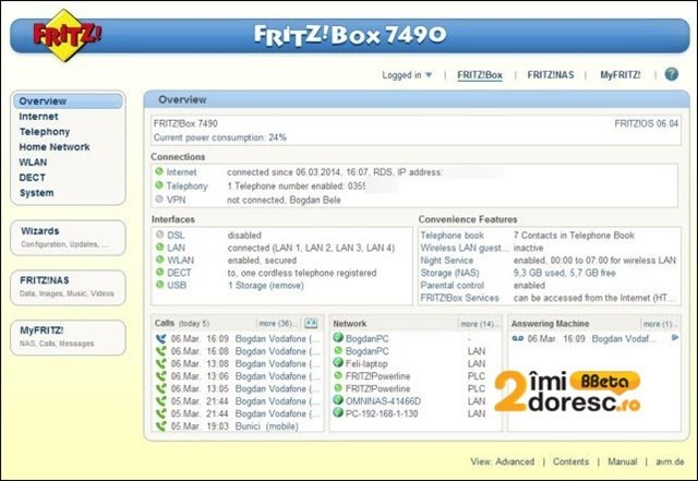 FRITZBox 7490 review interfata main
