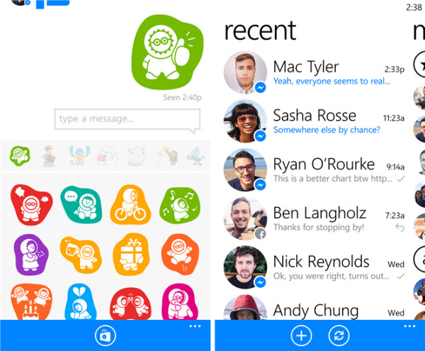 Facebook Messenger pe Windows Phone
