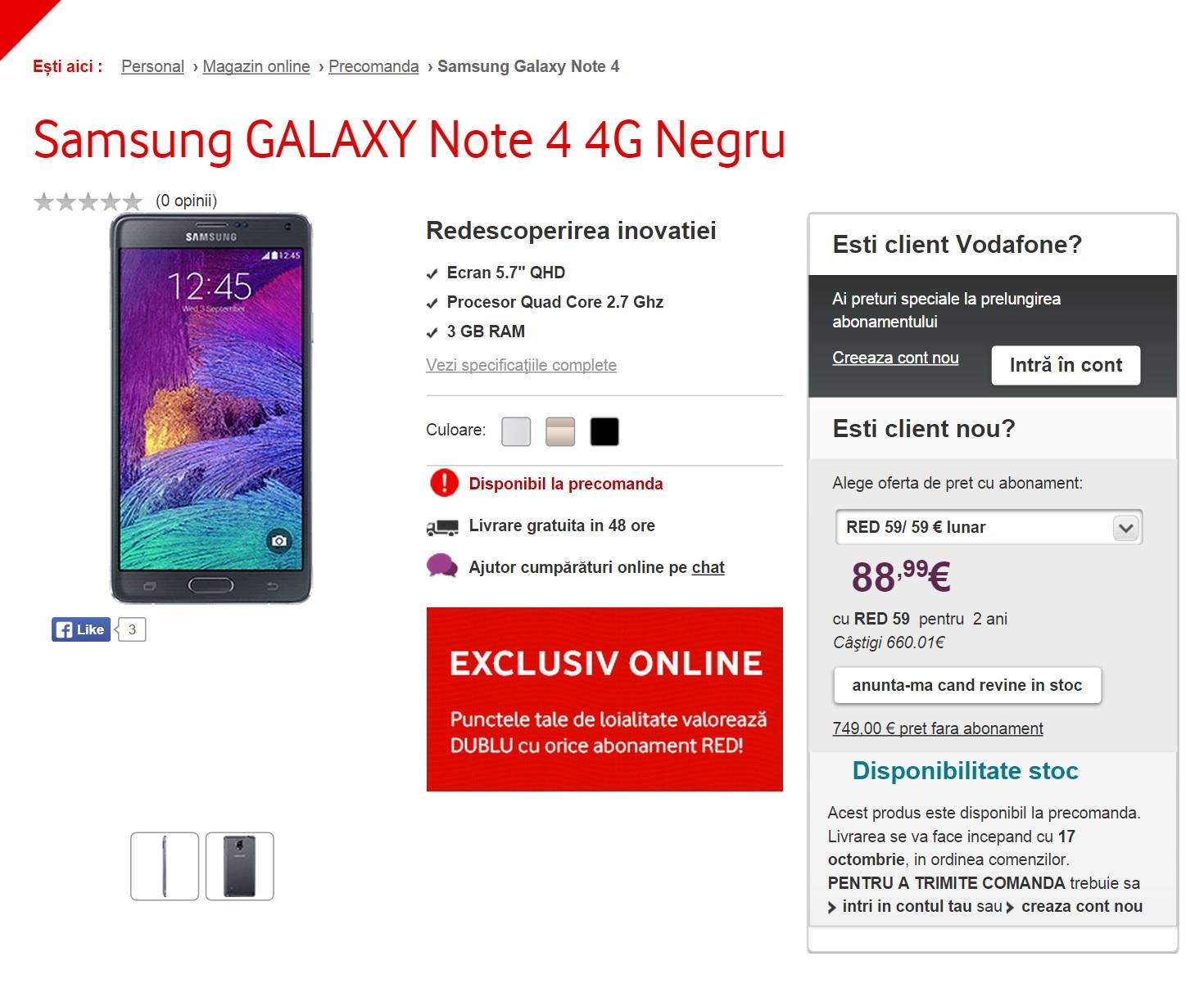 Samsung Galaxy Note 4 Vodafone