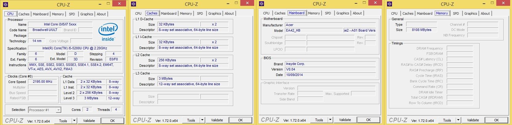 Acer R14 CPUZ