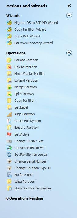 MiniTool Partition Wizard Professional menu