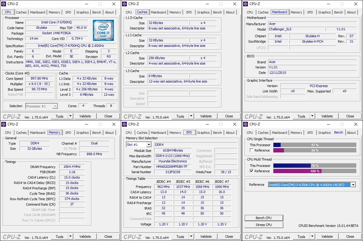 Acer Predator 17 G9-792 CPUZ