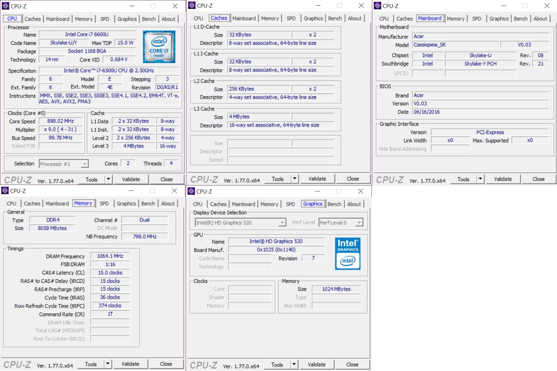 Cpuz Acer Swift 3