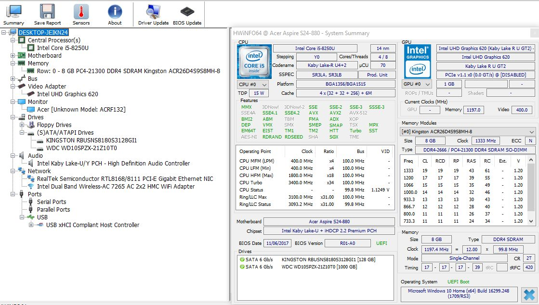 Acer Aspire S24 hwinfo